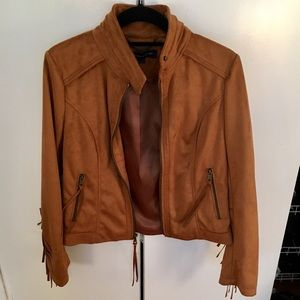 French Connection Faux Suede Fringe Jacket